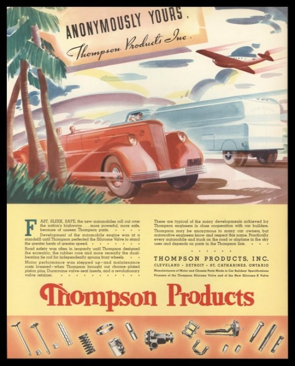 1936 Thompson Products Vintage Ad | Deco Car Art