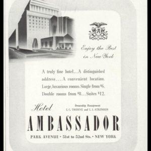 1938 Hotel Ambassador Vintage Ad | Park Avenue NYC