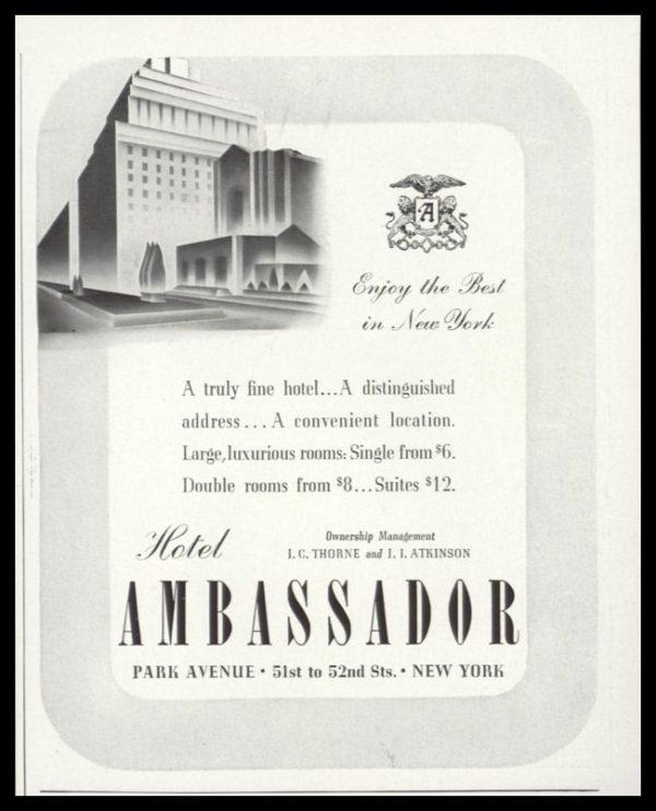 1938 Hotel Ambassador Vintage Ad   Park Avenue NYC