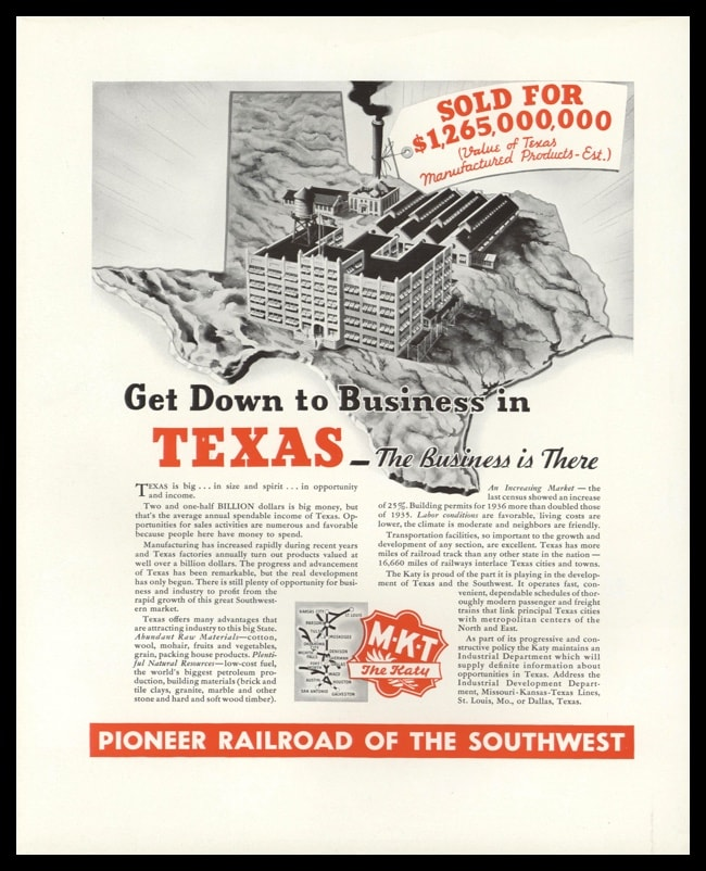 "1938 MKT Railroad Vintage Ad - ""Texas – The Business is There"""