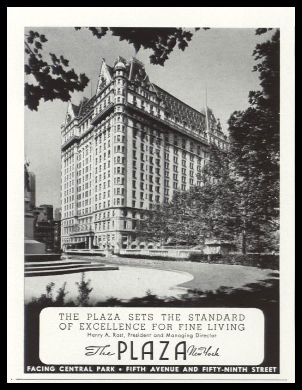 "1938 Plaza Hotel New York Vintage Ad -""Standard of Excellence for Fine Living"""
