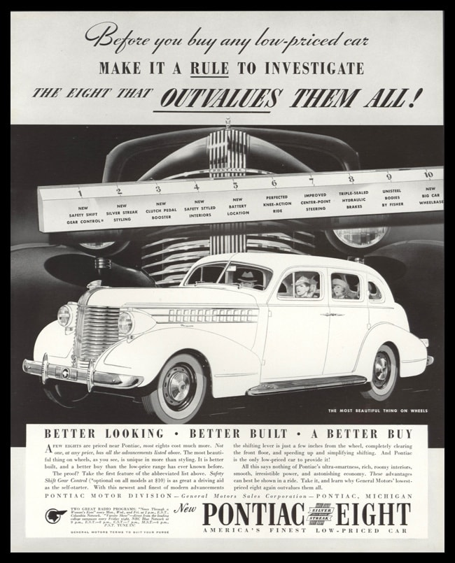 "1938 Pontiac Eight Vintage Ad | ""Outvalues Them All"""