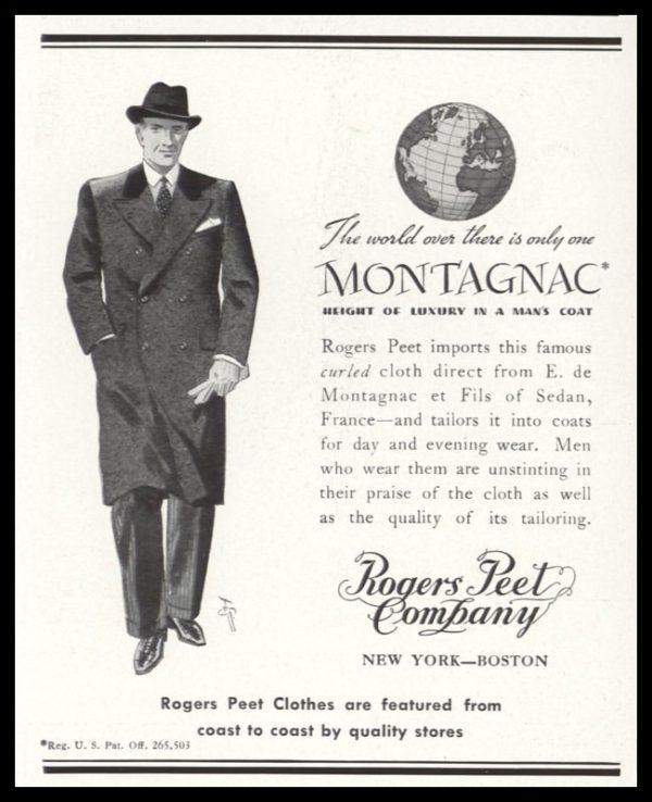 1938 Rogers Peet Vintage Ad | Montagnac Coat