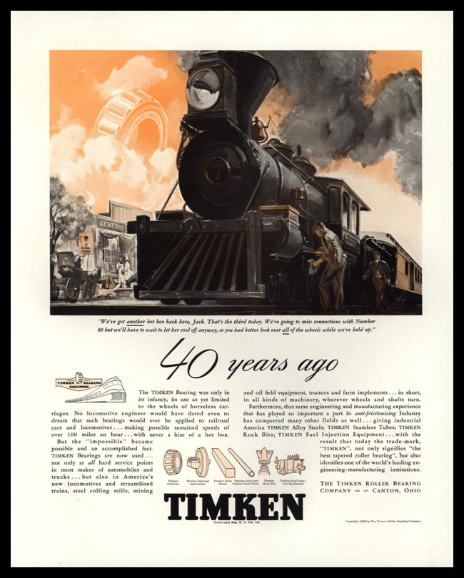 1938 Timken Bearings Vintage Ad - Locomotive Train Art