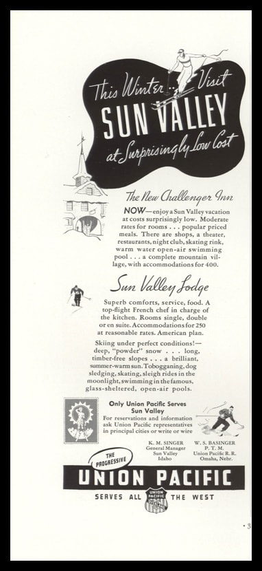 1938 Union Pacific Railroad Vintage Ad | Sun Valley
