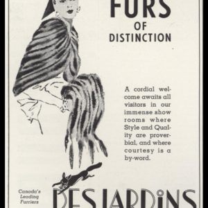 "1940 Desjardins Furs Vintage Ad | ""Furs of Distinction"""