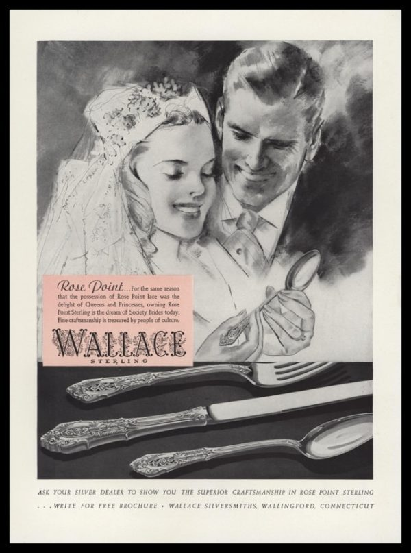 1940 Wallace Sterling Vintage Print Ad   Bride and Groom Art