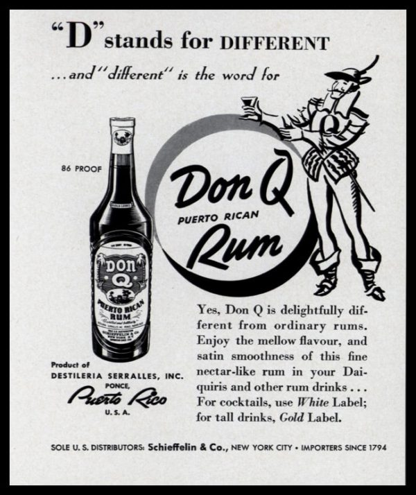 "1942 Don Q Rum Vintage Ad | ""'D' stands for Different"""
