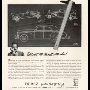 1942 Durez Plastics Vintage Ad | Raymond Loewy