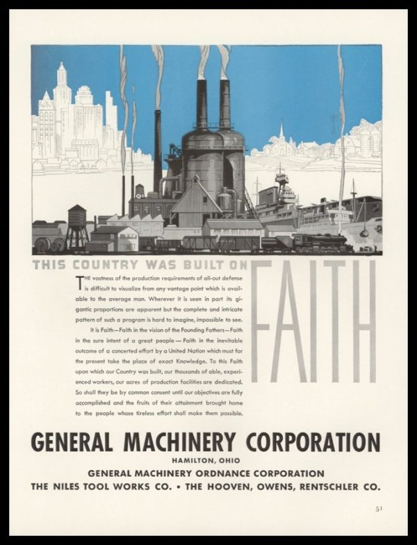 1942 General Machine Vintage Ad | Country Built on Faith