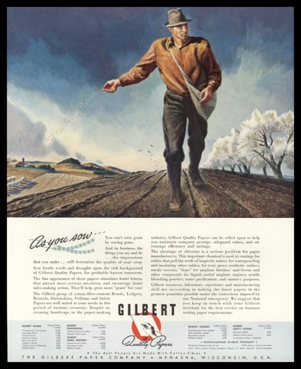 "1942 Gilbert Paper Co. Vintage Ad | ""As you sow"""