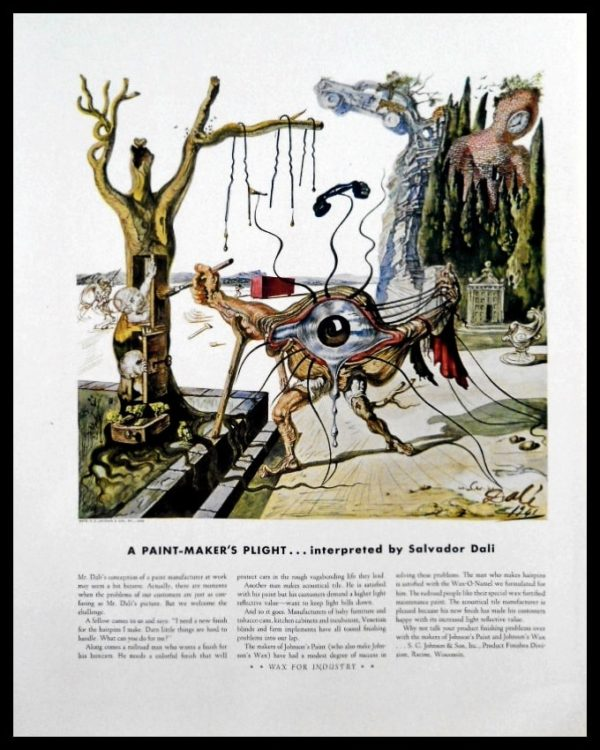 1942 Johnson's Paint Vintage Ad | Salvador Dali Art
