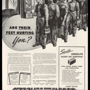 1942 Ad Kreolite Wood Block Floors | Time Clock Art
