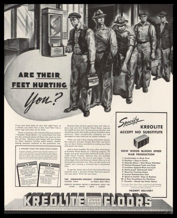 1942 Ad Kreolite Wood Block Floors | Time Clock Art