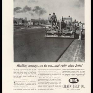 1942 Rex Chain Belt of Milwaukee Vintage Ad - Paving Crew