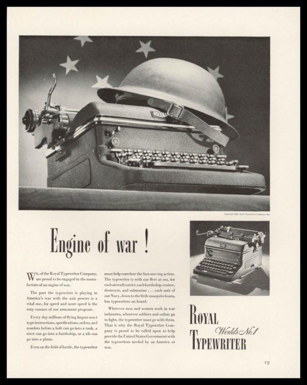 """1942 Royal Typewriter Vintage Ad   """"Engine of War!"""""""