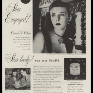 "1946 Ponds Cold Cream Vintage Ad - ""She's Engaged!"""