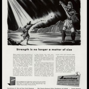 1947 American Wheelabrator Vintage Ad - David and Goliath Art