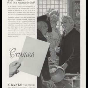 "1947 Crane's Fine Papers Vintage Ad | ""The Mark"""