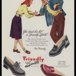 "1947 Edgewood Shoe Co. Vintage Ad | Friendly ""Sports"""