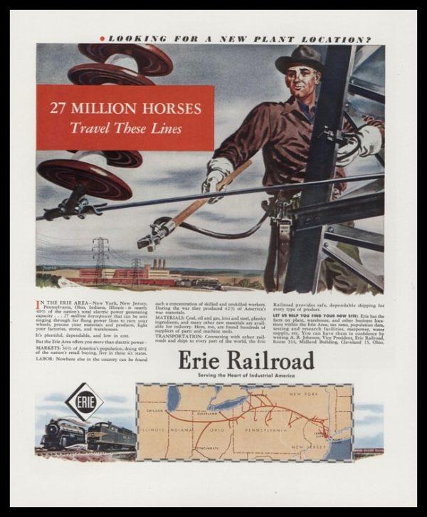 1947 Erie Railroad Vintage Ad - Lineman Art