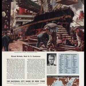1947 National City Bank of NY Vintage Ad - Dean Cornwell Art -Southampton Docks