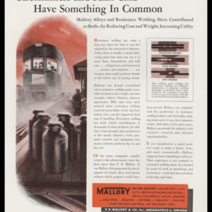1947 P. R. Mallory & Co. Vintage Ad | Streamliner Train Art