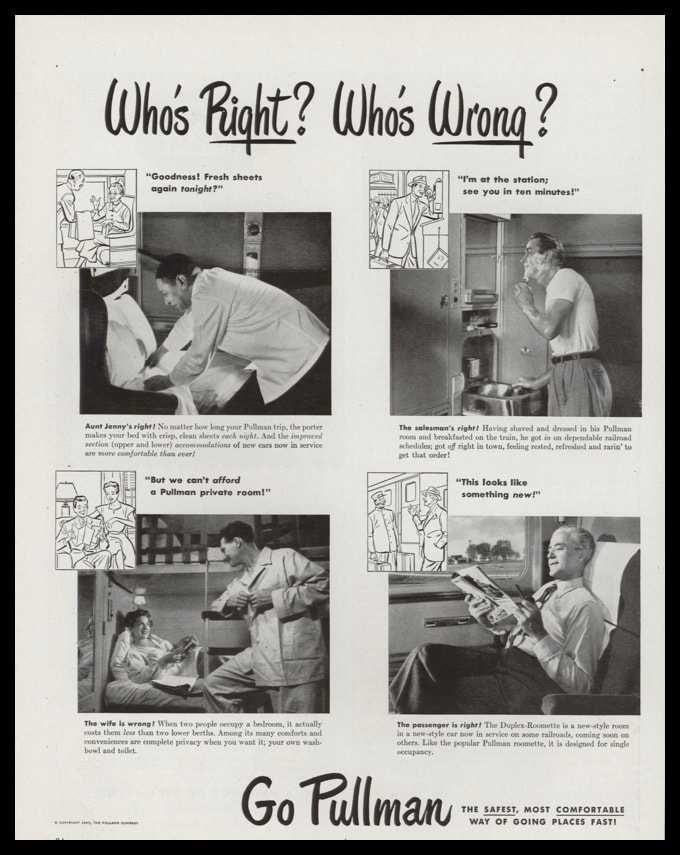 "1947 Pullman RR Car Vintage Ad - ""Who's Right? Who's Wrong?"""
