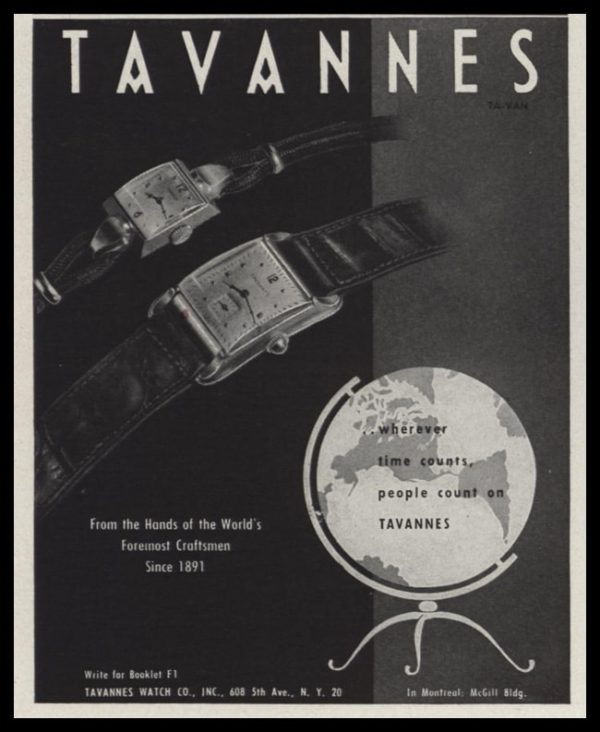 """1947 Tavannes Watch Co. Vintage Ad - """"wherever time counts"""""""