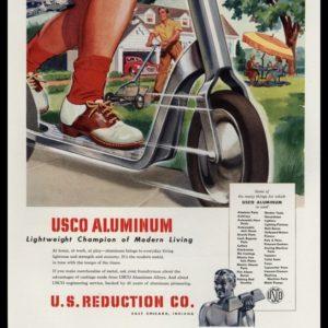 1947 USCO Aluminum Vintage Ad | Lightweight Champion