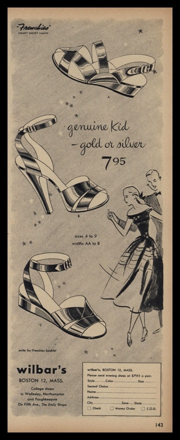 1947 Wilbar's Vintage Ad | Frenchies Evening Shoes