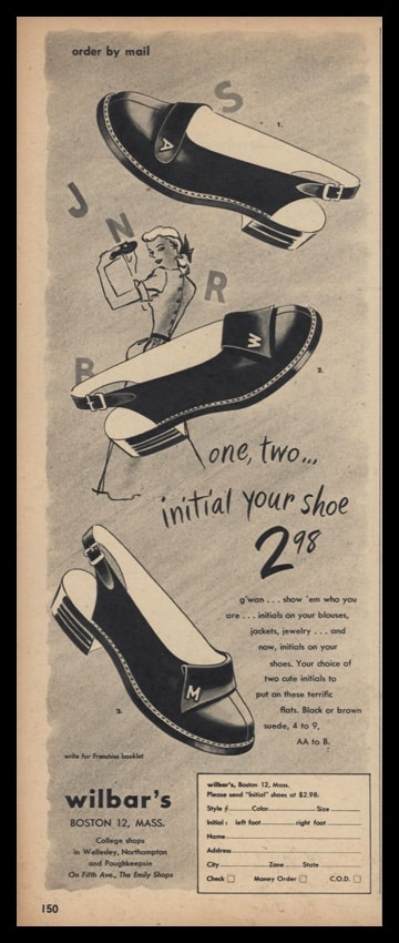 1947 Wilbar's of Boston Vintage Ad - Frenchies Initialed Shoes