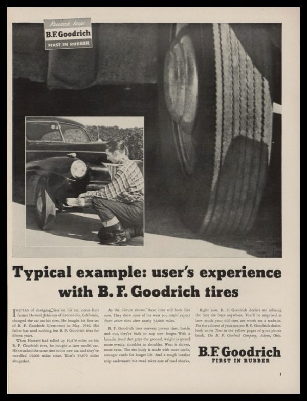 """1948 B. F. Goodrich Tires Vintage Ad 