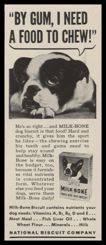 1948 Milk Bone Dog Biscuit Vintage Ad - Boston Terrier