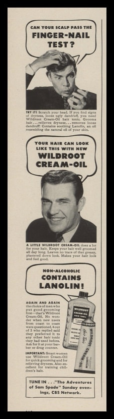 "1948 Wildroot Cream-Oil Vintage Ad - ""Finger-Nail Test?"""