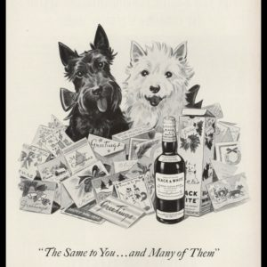 "1953 Black & White Scotch Whisky Vintage Ad - ""Same to You"""