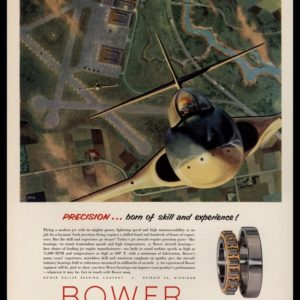 1953 Bower Roller Bearings Vintage Ad | Airplane Art
