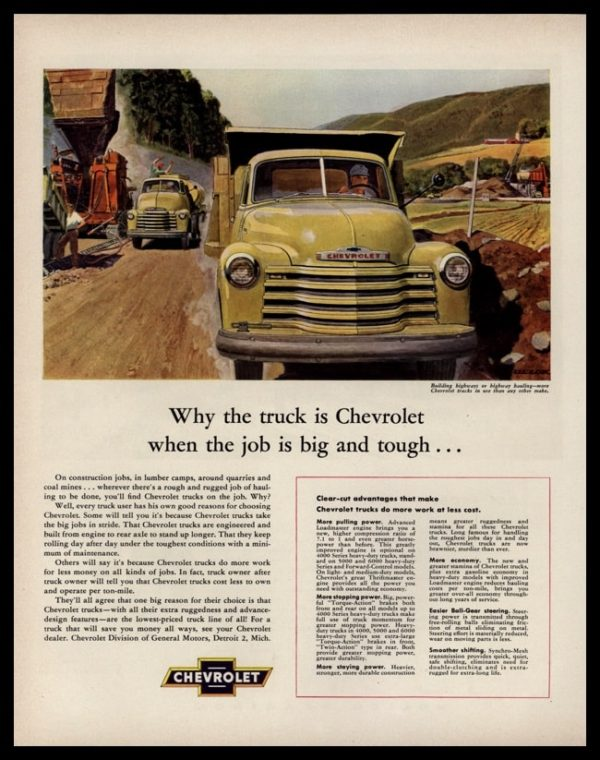 1953 Chevrolet Trucks Vintage Ad - Highway Construction Art