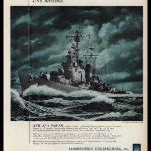 1953 Combustion Engineering Vintage Ad - U.S.S. Mitscher Art