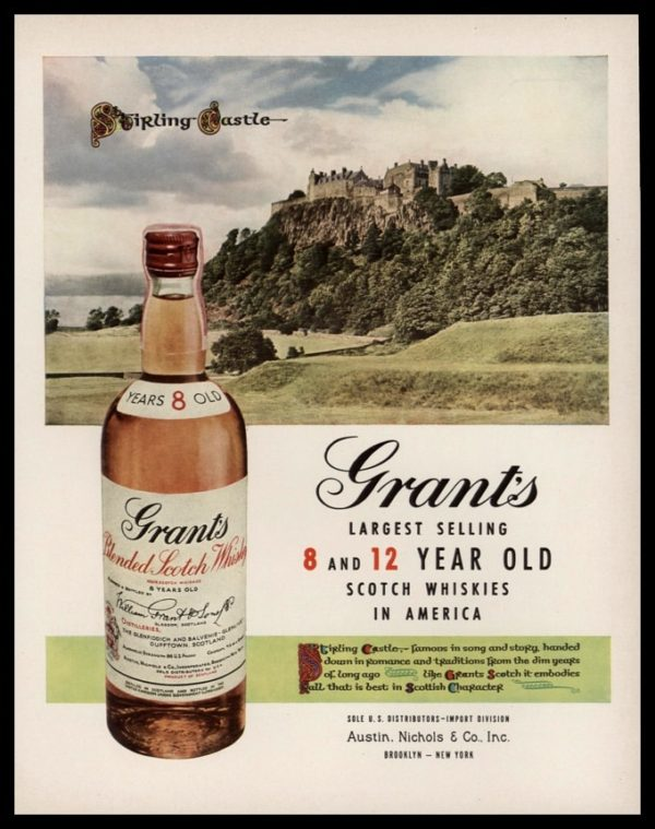 1953 Grant's Scotch Whisky Vintage Ad | Stirling Castle
