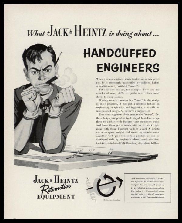 "1953 Jack & Heintz Rotomotive Equipment Vintage Ad - ""Handcuffed Engineers"""