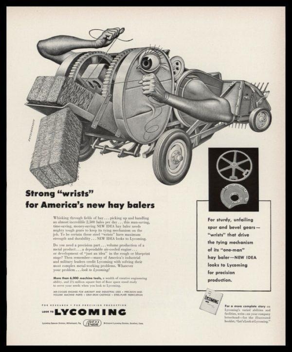 1953 Lycoming Vintage Ad | Artzybasheff Hay Baler Art