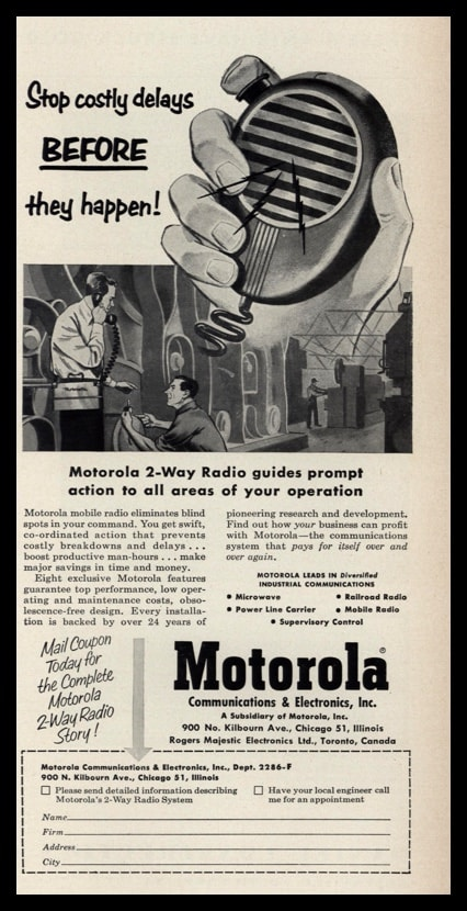 "1953 Motorola 2-Way Radio Vintage Ad - ""Stop costly delays"""