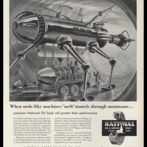 "1953 National Motor Bearing Vintage Ad | Radebaugh Art - ""mole-like machines"""