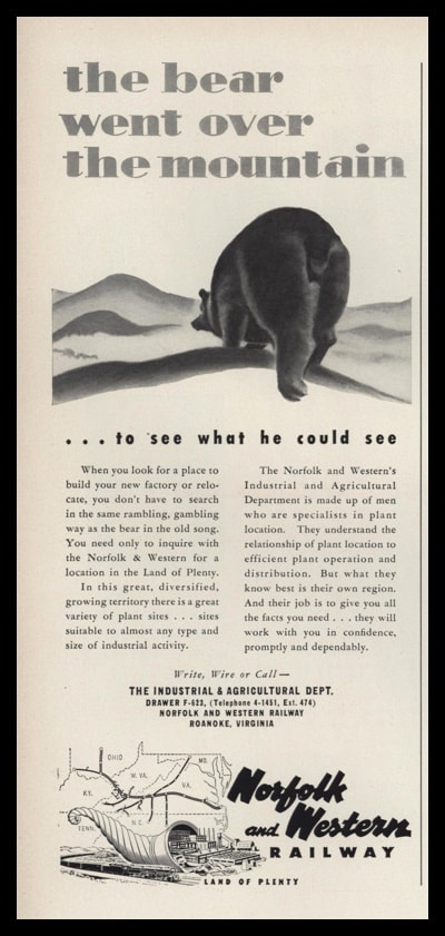 "1953 Norfolk and Western Railway Vintage Ad - ""the bear went over the mountain"""