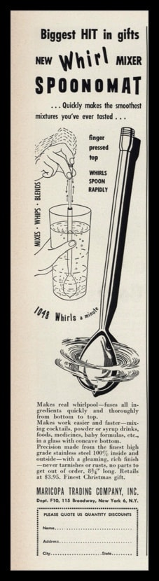"""1953 Spoonomat Mixer Vintage Ad   """"1048 whirls a minute"""""""