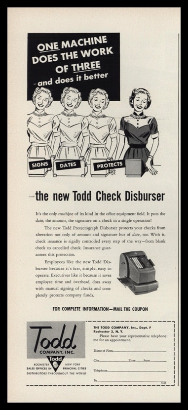 "1953 Todd Check Disburser Vintage Ad - ""Does the Work of Three"""