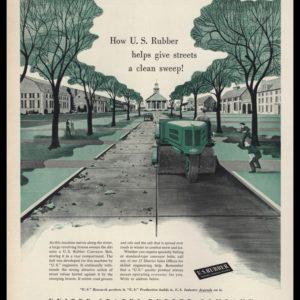 1953 U.S. Rubber Co. Vintage Ad - Gaston Sudaka Street Sweeper Art