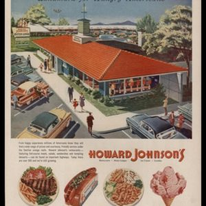"1956 Howard Johnson's Vintage Ad - ""Landmark for Hungry Americans"""