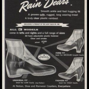 1956 Rain Dears Shoe Protectors Vintage Ad